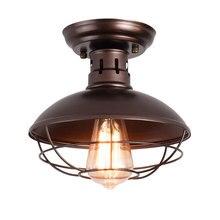 American retro industrial light Black iron ceiling lamp single head stair corridor balcony lamp E27 ceiling lighting fixture