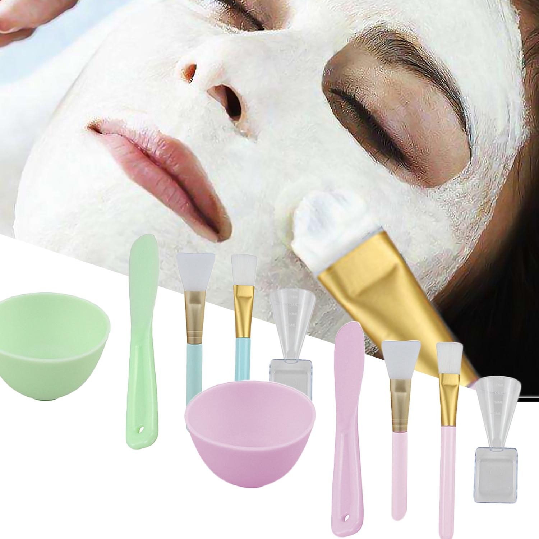 5 In 1 Face Facial Mask Mixing Kit Silicone Brush + Nylon Brush + Stick Spatula Applicator + Measuring Cup + Mixing Bowl
