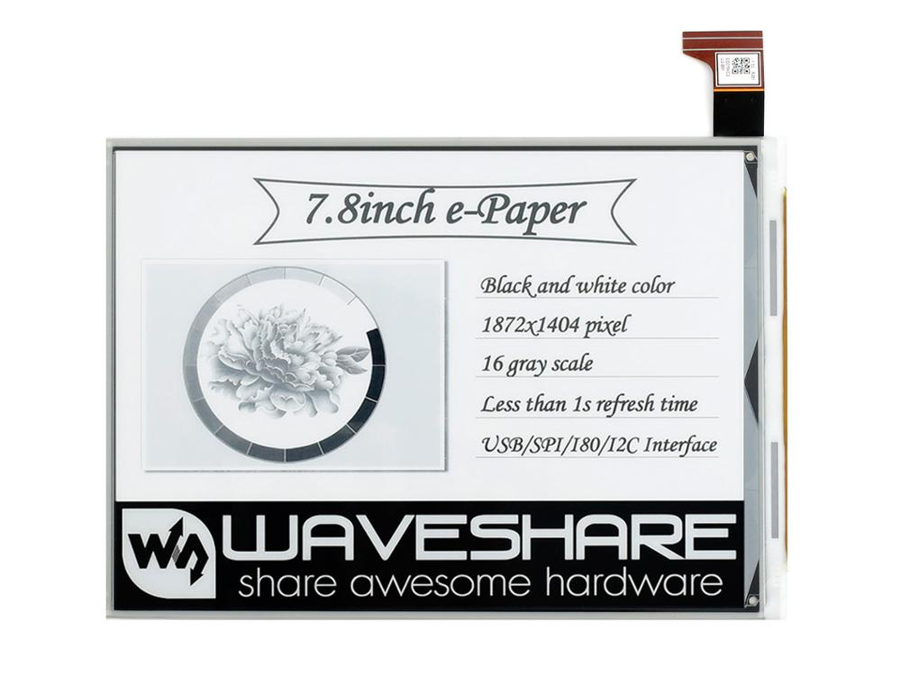 Waveshare 7.8inch E-Ink Raw Display, Parallel Port, 1872*1404 Resolution,supports Partial Refresh,7,8 дюймовый E-Ink Raw дисплей