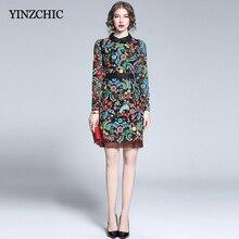 Vestido elegante con bordado Floral para mujer otoño nuevo vestido ajustado lápiz Vintage Mini vestido para mujer otoño nuevo vestido