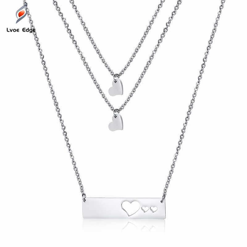 2019 Женские Подвески в форме сердца, многослойные ожерелья-чокер, никогда не выцветает, твердые серебряные женские ювелирные изделия из нержавеющей стали