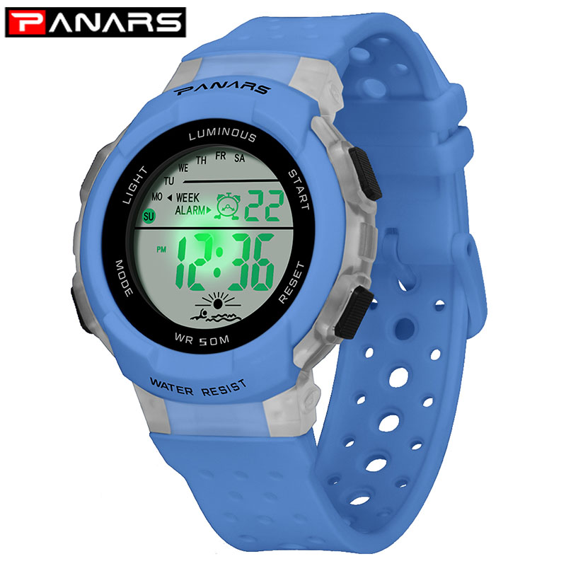 PANARS Children Digital Watch Led Electronic Sport Watches Stop Watch Luminous 5Bar Waterproof Kids Wristwatches For Boys Girls