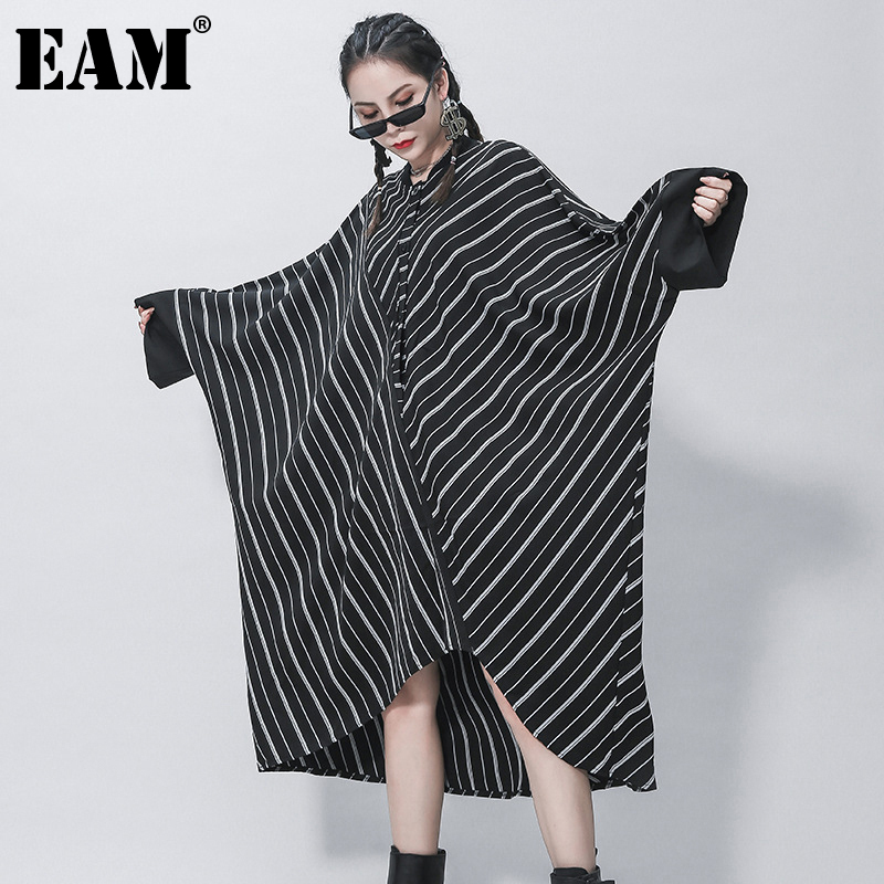 [EAM] Women Black Striped Split Big Size Shirt Dress New Stand Collar Long Sleeve Loose Fit Fashion Spring Autumn 2020 1Z318