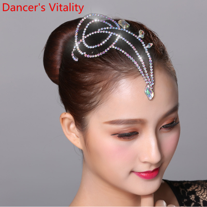 Modern National Standard Dance Headwear Rumba Samba Competition Rhinestone Accessories Adult Children Professional Decoration