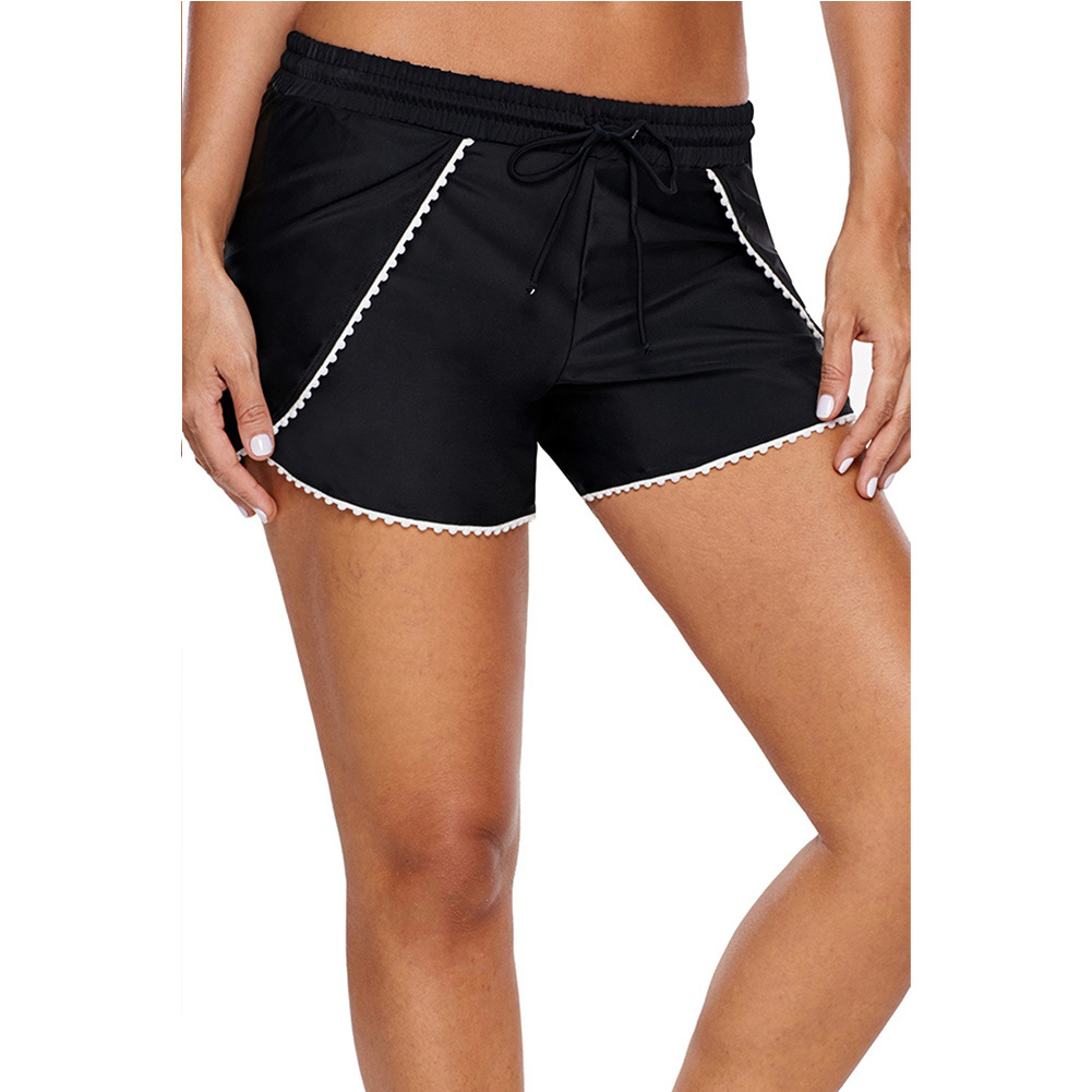 Shi Ying Europe And America Swimming Trunks High-waisted Beach Shorts One-Piece Boxers Conservative Anti-Exposure Black And Whit