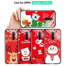 For OPPO Realme X2 Pro Shockproof Christmas Case Xmas Tree Santa Claus Snowman Deer ELK Tempered Glass Casing Protective Cover(China)