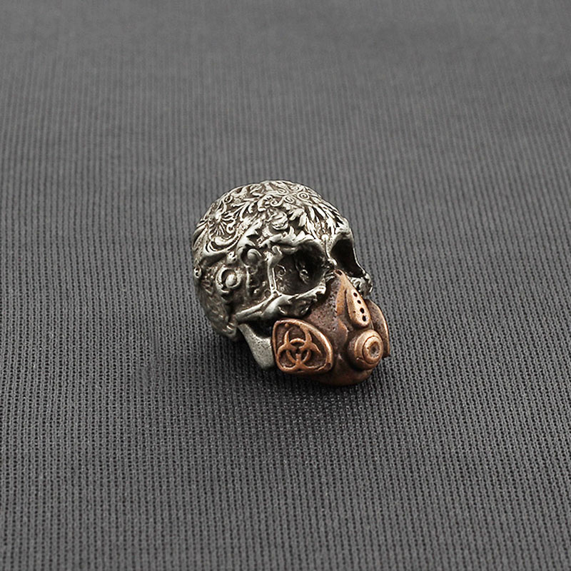 Mask Skull Brass Knife Beads Carving Brass Skull Lanyard Bead Paracord Pendant Keychain DIY Pendant(China)