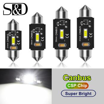 C5W LED CANBUS C10W żarówka led Festoon 31mm 36mm 39mm 41mm CSP lampa kopułkowa wnętrza samochodu tablica rejestracyjna lampka do czytania biała 12V tanie i dobre opinie CN (pochodzenie) Oświetlenie tablicy rejestracyjnej 1000LM Festoon-36mm 12 v 0 025 Uniwersalny C5W 31MM 36MM 39MM 41MM