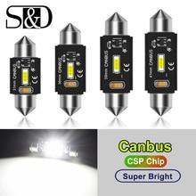 C5W LED CANBUS C10W led ampul Festoon 31mm 36mm 39mm 41mm CSP araba iç tavan aydınlatması lisansı plaka okuma ışığı beyaz 12V