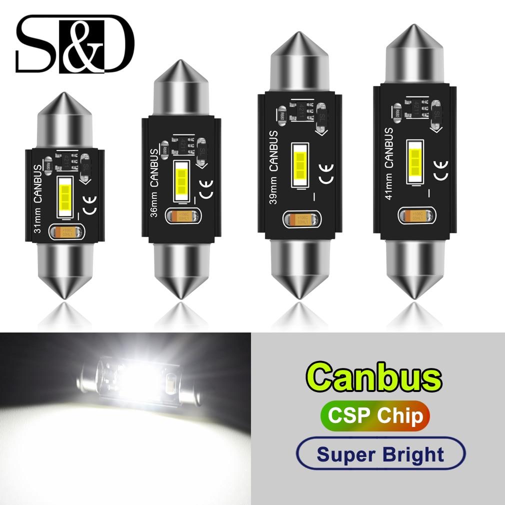 C5W LED CANBUS C10W Led Bulb Festoon 31mm 36mm 39mm 41mm CSP Car Interior Dome Lamp License Plate Reading Light White 12V