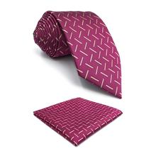 F17 Geometric Pink Mens Tie Set Wedding Pocket Square Party Silk