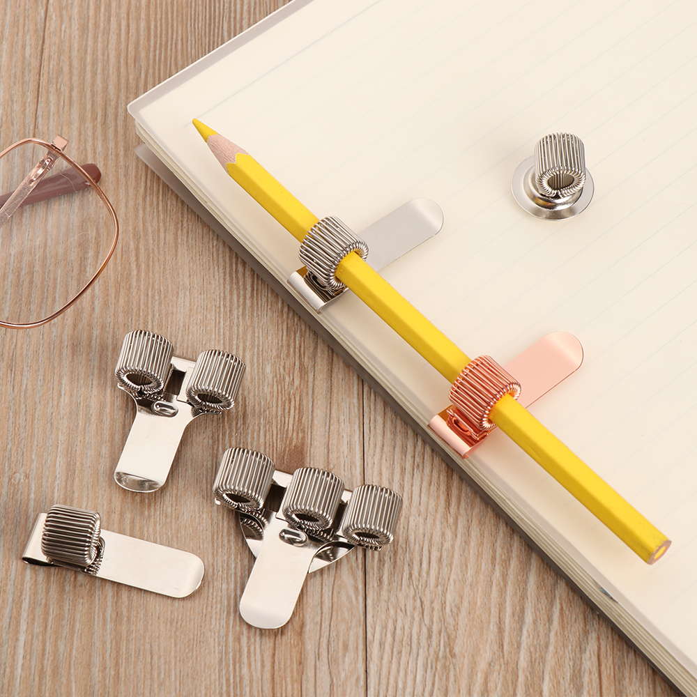 Spring Pen Clip Metal Pencil Holder Single Hole Double Opening Triple Orifice Elastic Loop Portable Writing Supplies Stationery