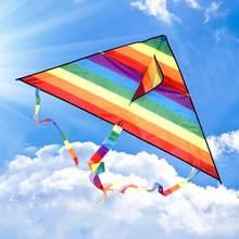 Colorido arco-íris, rabo longo de poliéster, gatos, brinquedos voadores para crianças, surfe, com barra de controle e 30 linha de m