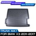 Tapis de coffre arrière de voiture tapis de sol imperméable tapis Anti boue plateau Cargo Liner pour BMW X3 2011 2012 2013 2014 2015 2016 2017|  -