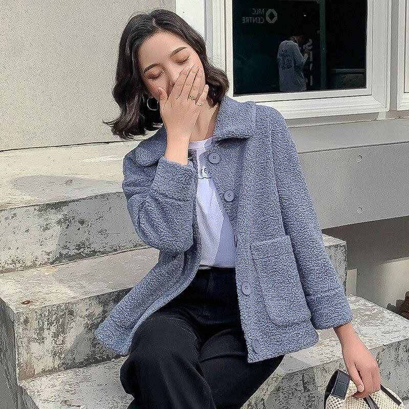 Élégant couleur unie veste femmes mode 2019 automne hiver simple boutonnage épais chaud manteau doux court vestes femme - 5