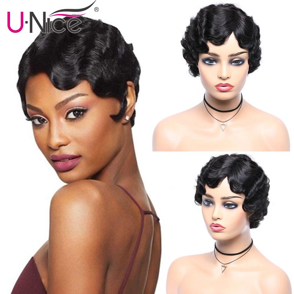Unice Hair Short Ocean Wave Bob Wigs For Woman Short Finger Wave Wigs Short Pixie Cut Wig Brazilian Remy Short Human Hair Wigs