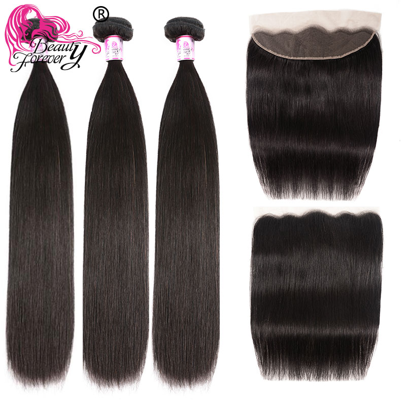 Beauty Forever Brazilian Straight Human Hair 3 Bundles With Frontal Closure 13*4 Free Part Remy Hair Extensions High Ratio