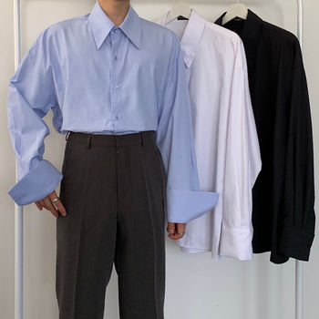 цена Dress Shirt Men's Fashion Society Men Shirt Solid Color Business Casual Shirt Mens Streetwear Loose Korean Long-sleeved Shirt онлайн в 2017 году