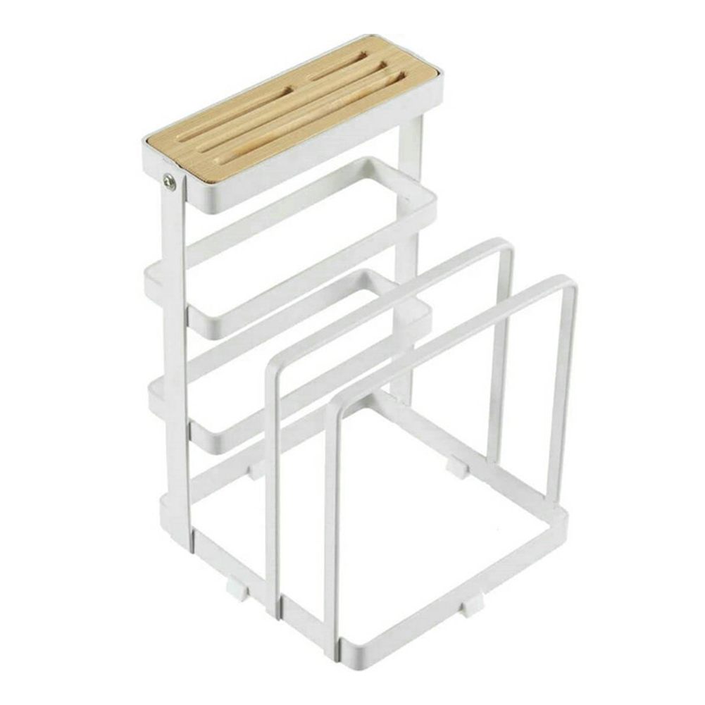 Durable Storage Rack Pot Lid Cutting Board Supplies Plate Holder Space Saving Desktop Stand Drying Non Slip Home Kitchen Chopper
