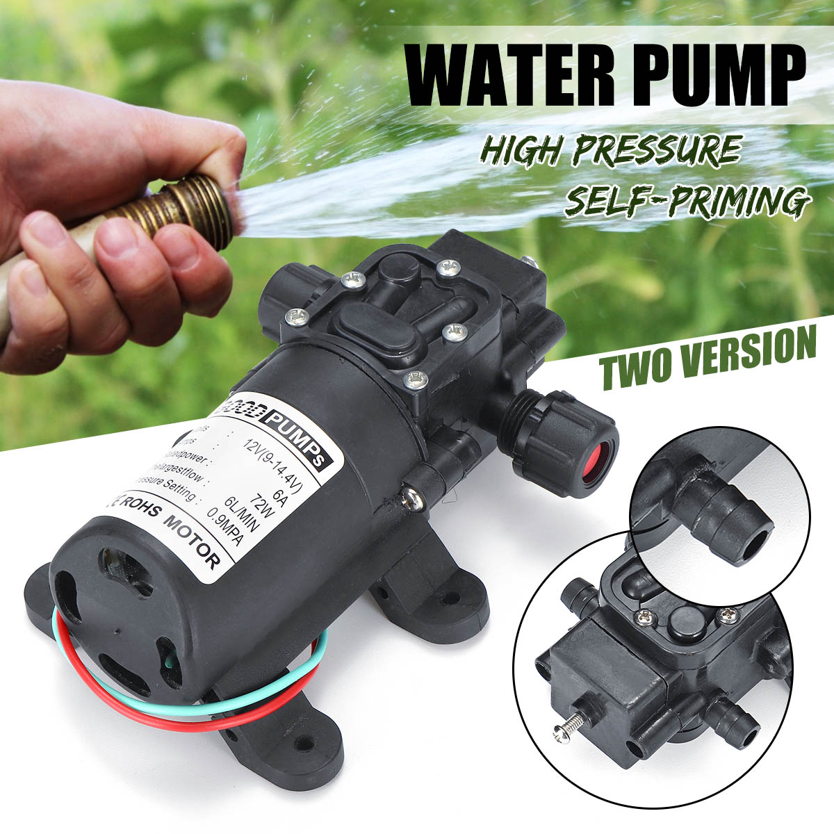 12V 72W 130PSI 6L/Min Water High Pressure Diaphragm Self Priming Pump Micro High Pressure Car Washing Spray Water Pump
