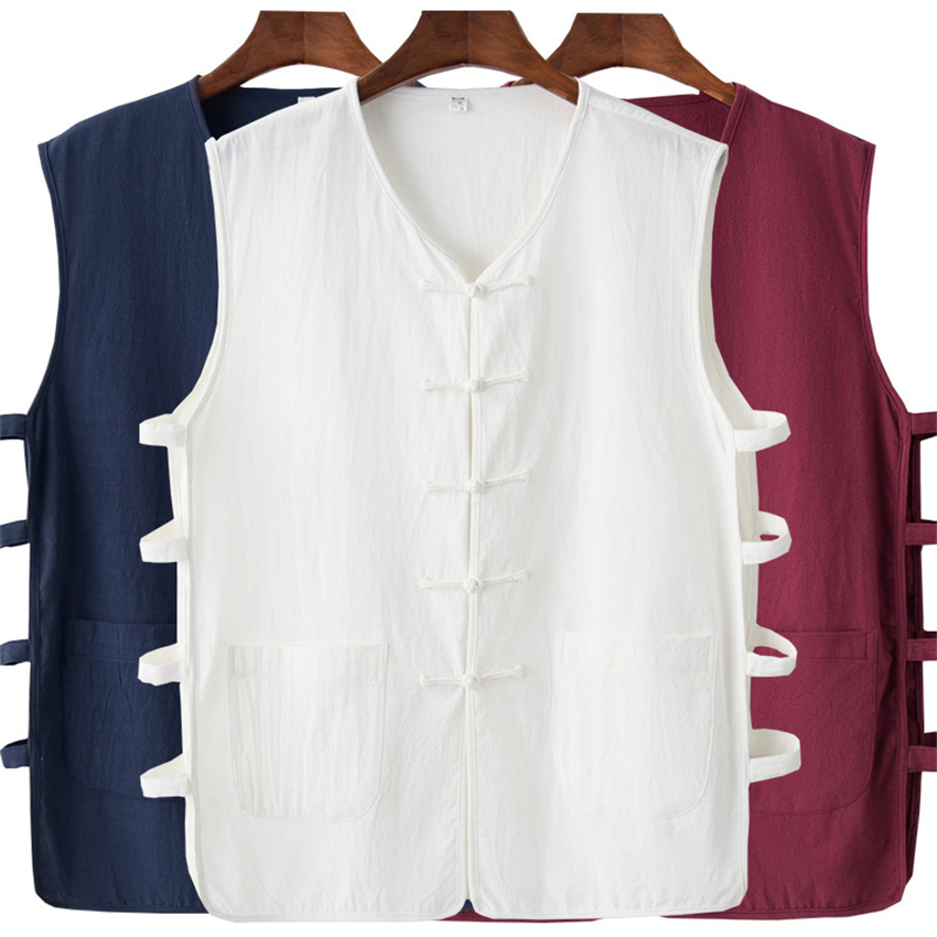 Traditional Chinese Clothing For Men Top Vest Tang Suit Cotton Linen Solid Sleeveless China Style Fashion Shirt Plus M-4XL