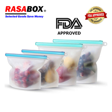 RASABOX - Food Storage & Organization Sets, Reusable Silicone Bags, Freezer for Snack Lunch Sandwich Preservation