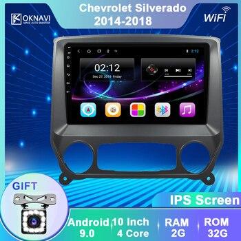 Автомобильный мультимедийный плеер OKNAVI, Android 9,0, для Chevrolet Silverado GMC Sierra через Vtrux Truck 2014 2018, радио, GPS навигация, SWC