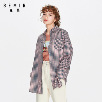 SEMIR Women long-sleeve blouse 2020 new loose and breathable lattice long personalized fashion female shirt
