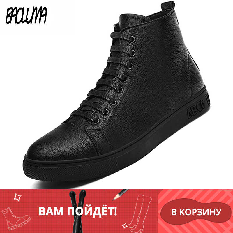 Man Warm Winter Real Leather Ankle Laarzen Mannen Rits Metalen Sneakers Winter Herfst Waterdichte Zwarte Snowboots Winter Laarzen