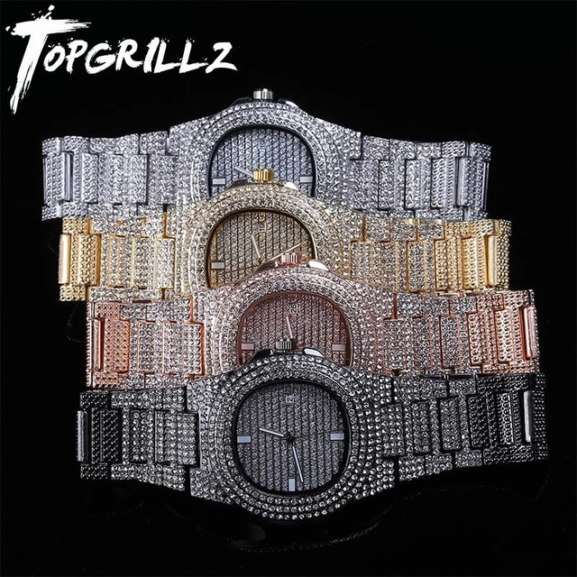 TOPGRILLZ-Reloj de acero inoxidable con diamantes, cronógrafo de cuarzo, dorado, estilo HIP HOP, micropavé, CZ 1
