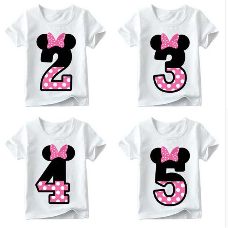 YUXIC Summer Short Sleeved Kids T-shirt Cute Cartoon Girls Boys Tops Tees Birthday Party Children Clothes White Tshirt Kids