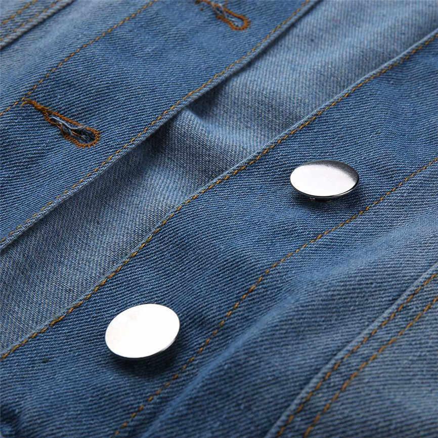 Джинсовая женская крутая куртка Женская Повседневная модная джинсовая куртка длинное джинсовое пальто бусина верхняя одежда с отложным воротником Джинсовая куртка