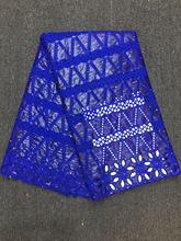 Blue Hollow Out African Bazin Riche Lace Fabric New Design Embroidered High Quality Brode With Stones Guipure Fabrics