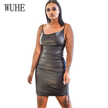 WUHE Sexy Black PU Leather Bodycon Dress Women Sexy Bandage Sleeveless Party Club Mini Spaghetti Strap Dress Vestidos for Femme pu leather panel plus size sleeveless bandage mini dress
