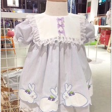Princess-Dress Embroidery Easter Spanish Baby-Girl Vintage Birthday Summer Rabbit