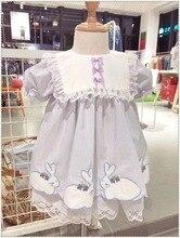 Koop 0 7Y Baby Meisje Konijn Borduurwerk Vintage Spaanse Pompom Gown Dress Lace Lolita Jurk Prinses Jurk Voor Meisje Verjaardagsfeestje