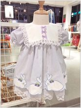 SALE 0-7Y BaBy Girl Rabbit Embroidery Vintage Spanish Pompom Gown Dress Lace Lolita Dress Princess Dress for Girl Birthday Party(China)