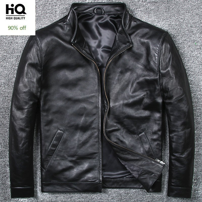 Mens Motorcycle Leather Jacket Stand Collar Slim Fit Business Man Classic Sheepskin Genuine Leather Jacket Plus Size 6XL Coat