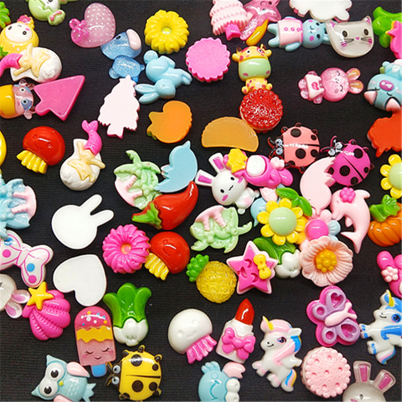 10/30pcs Mix Design Color Resin Flat Back Cabochon Art Supply Decoration Charm Craft Sun Flowers Candy Bear Selected Material