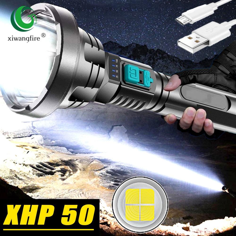 Новый XHP50 фитиль сильный светильник вспышки светильник USB Перезаряжаемые тактическая охотничья вспышка светильник встроенный Батарея свет...