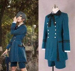 Masculino feminino quente cosplay festa traje shire preto mordomo kuroshitsuji ciel phantomhive algodão cor sólida