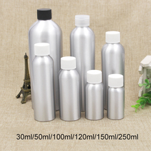 купить Free Shipping 30ml 50ml 100ml 120ml 150ml 250ml Silver Aluminum Container Empty Cosmetic Water Toners Packaging Metal Bottle дешево