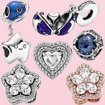 Cuentas de plata de ley 2020 con forma de corazón con brillos, abalorios de copos de nieve de estrellas, para pulsera, regalo de joyería, invierno, 925, gran oferta