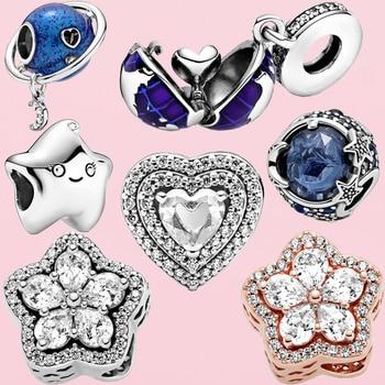 Gorąca sprzedaż 2020 zima 925 srebro koraliki mieniące się serce gwiazdy płatki śniegu Charms Fit oryginalny Pan bransoletka biżuteria prezent