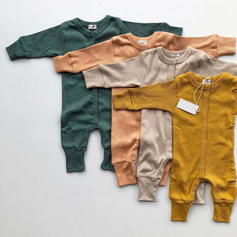 Solid Unisex Newborn Baby Romper Long Sleeve Buttons Up Infant Rompers