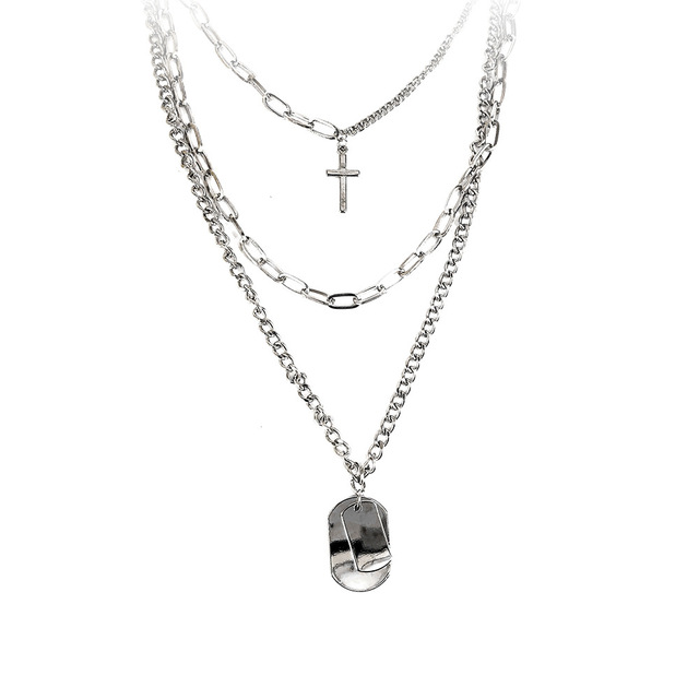 AOMU 2020 Personality Hip Hop Multilayer Necklace Metal Cross Pendant Silver Color Chain Necklace for Women Men Unisex Jewelry