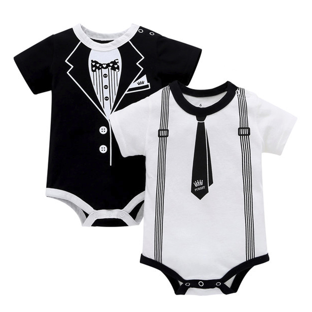 Short Sleeve Baby Girls Bodysuit Newborn Body Baby Funny Printed Jumpsuit Cotton O-Neck Costume For Baby Boy Gentleman Clothes