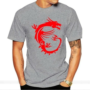 Msi Dragon Gaming Black Tee Size S 3Xl Men'S Cotton T Shirt male brand teeshirt men summer cotton t shirt