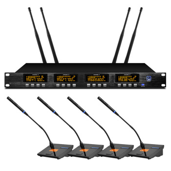 Four-channel microphone wireless conference professional wireless microphone system for conference room school outdoor speech