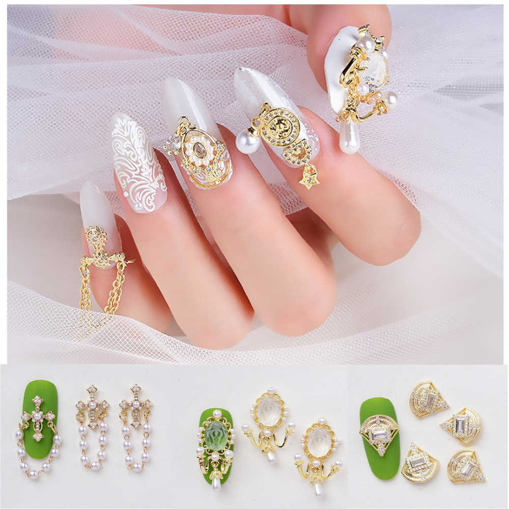 1PC 3D Luxury Metal Nail Art Decoration Glitter Zircon Drill And Rhinestones Jewelry Slices Golden DIY Nail Art Accessories Tips